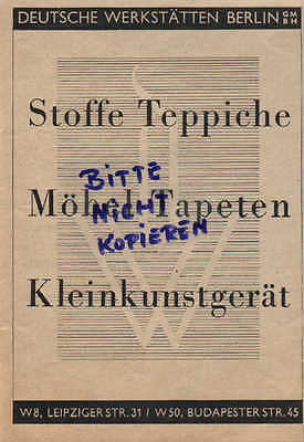 BERLIN, Werbung 1937, Deutsche Werkstätten GmbH Stoffe Teppiche Möbel Tapeten Kl