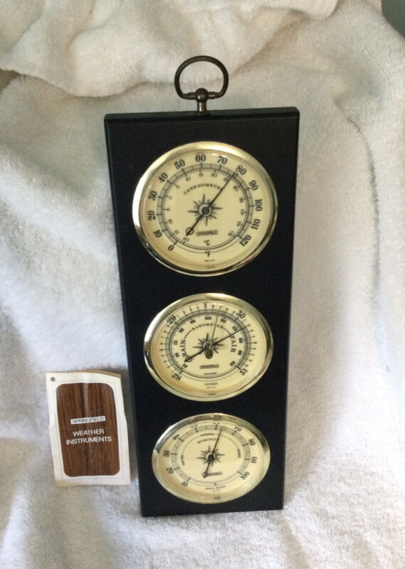 Vintage Springfield Weather Station Thermometer, Barometer & Humidity Wood Case