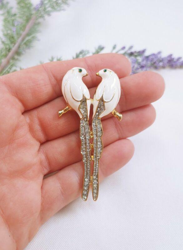 (W) vintage Parrot Bird Love Birds on Branch Rhinestone Brooch pin Gold tone