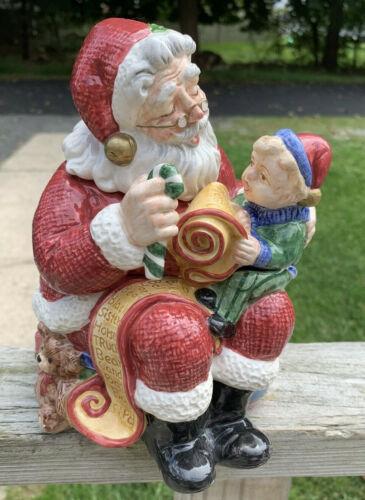 Fitz & Floyd Christmas Santa Claus Cookie Jar with Boy On Santa