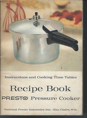 Presto Pressure Cooker Recipes Softcover 1961 National Presto Industries