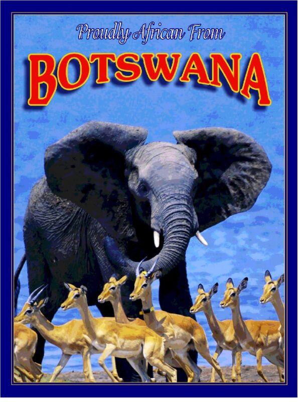 Botswana Elephant Antelope Africa African Pride Travel Art Poster Advertisement