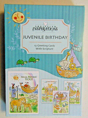 BOX 12 Christian Birthday Greeting Cards, Noah's Ark with Bible Scripture Verse