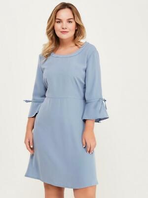 JUNAROSE 3/4 Sleeved Tie Detail Blue Dress - Size: 18