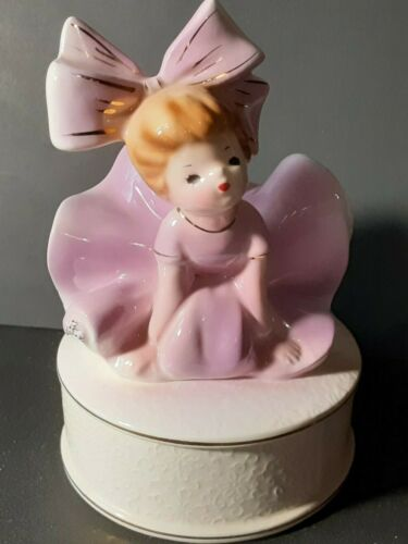 Vintage Inarco Big Bow Girl Trinket Box Figurine E1606 1964 Lavender