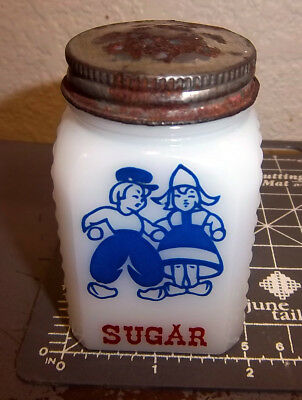 Vintage SUGAR Milkglass Spice Jar Shaker with metal lid, girl & boy logo Spice Jar-shaker