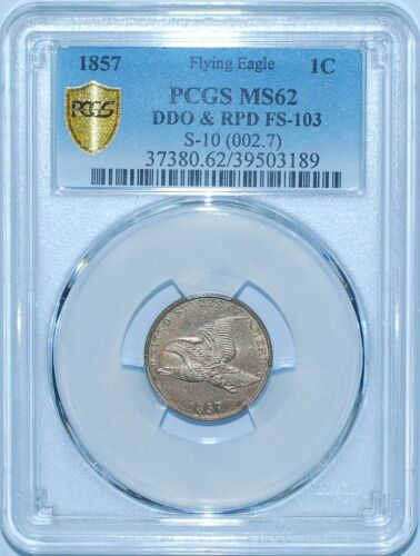 1857 PCGS MS62 FS-103 DDO RPD Repunch Date Doubled Die Obverse Flying Eagle Cent