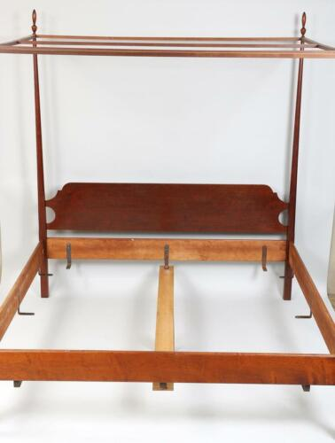 Eldred Wheeler Maple King Size Tester Poster with Canopy Bed Bench Made