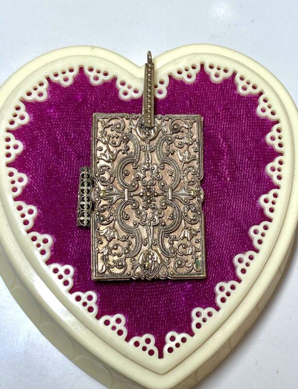 Authentic Antique Gold Metal Filigree & Celluloid Chatelaine Dance Card Case