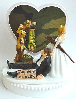 Wedding Cake Topper Dangling Treed Deer Hunter Themed Hunting Camo Groom - Camo Wedding Theme