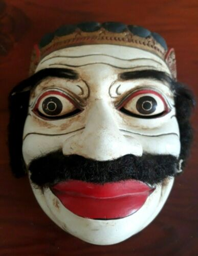 Fine Antique/Vintage Used Indonesian Balinese Topeng Mask Hand Carved Real Hair