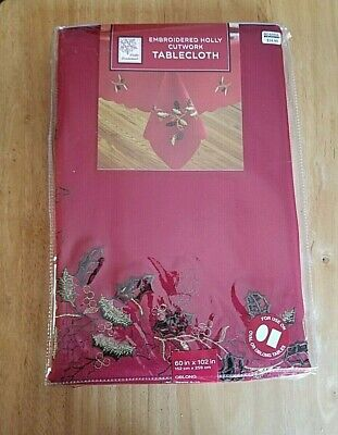 """Winter Wonderland Embroidered Holly Cutwork Red Oblong Tablecloth 60"""" by102"""" NIP"""