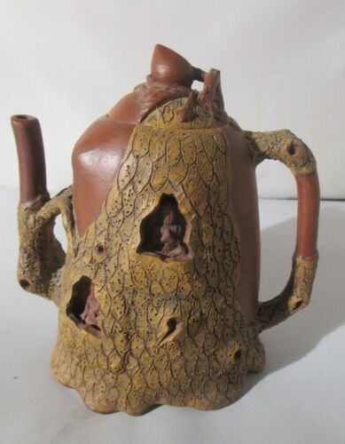 Vintage Chinese Yixing Clay Teapot w/ Buddhist Figures- MARK