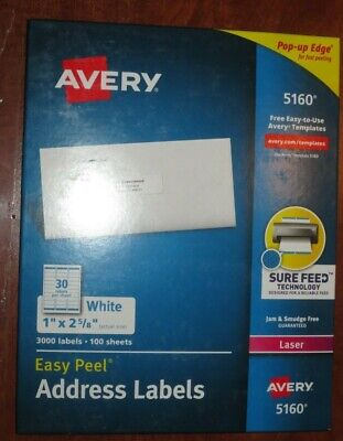 New - Avery 5160 Easy Peel Address Labels White 1 X 2-58- 3000 Labels-sealed