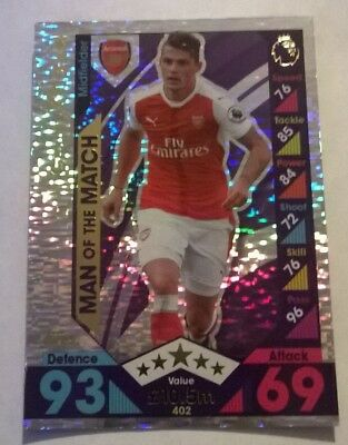 MATCH ATTAX 2016 2017 GRANIT XHAKA #402 MAN OF THE MATCH FOIL CARD ARSENAL