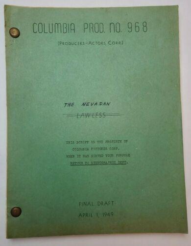 THE NEVADAN / George F. Slavin 1949 Screenplay, Randolph Scott & Dorothy Malone