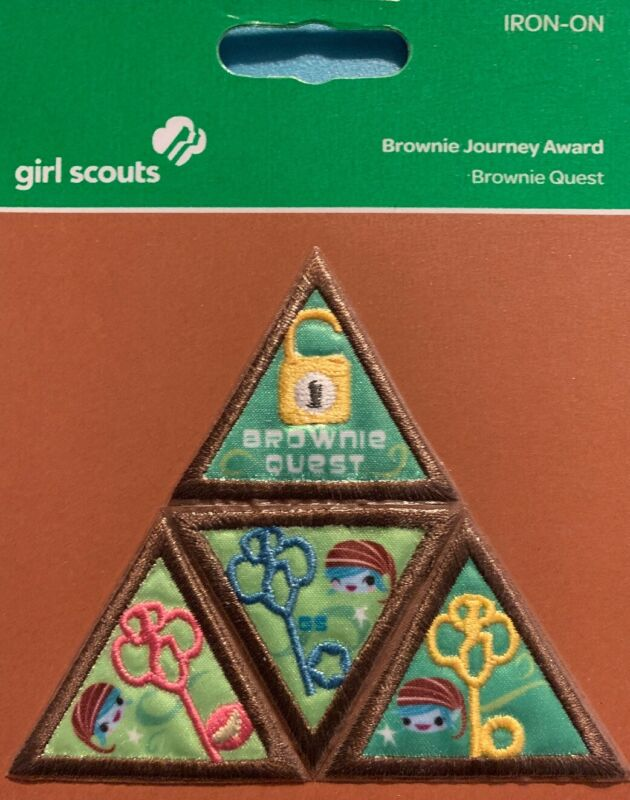 Girl Scout Brownie Badge - Journey Award: Brownie Quest - Iron On - NEW