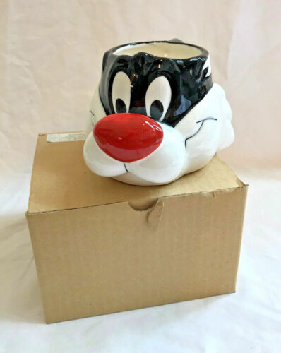 Looney Tunes Sylvester Cat Mug Coffee 1989 Warner Bros Applause NIB 3D Vintage