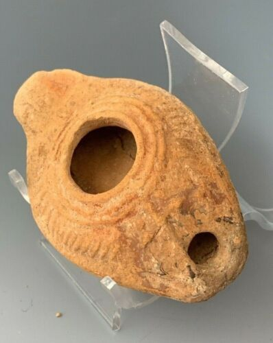 ANCIENT BYZANTINE OIL LAMP WITH A CROSS; HOLY LAND 300 - 500 A.D.