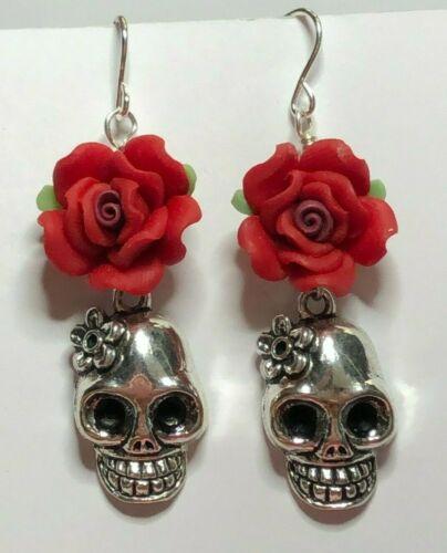 Day of the Dead Frida Kahlo Sugar Skull Red Rose .925 Sterling Silver Earrings