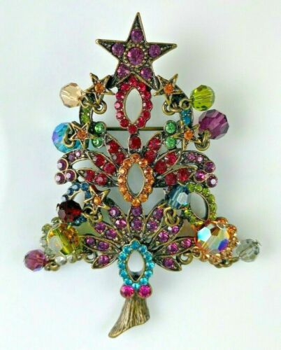 """Kirks Folly"" Signed Christmas Tree Pin Brooch w Rhinestones Dangling Crystals"