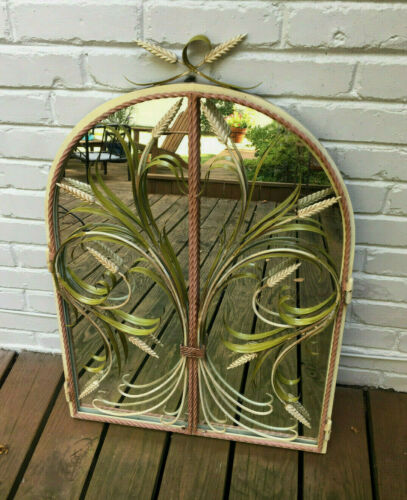 VTG ITALIAN BORGHESE TOLE MIRROR W/STUNNING WROUGHT IRON PAINTED WHEAT GATES