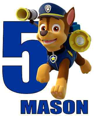 Chase Paw Patrol Age Personalized Iron On Transfer 5x6