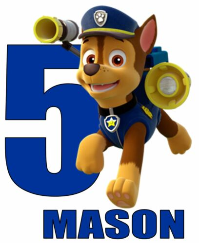 """Chase Paw Patrol Age Personalized Iron On Transfer 5x6"""" LIGHT Colored Fabrics"""