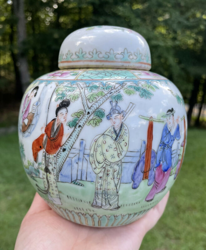 Antique Chinese Early 20th C. Famille Rose Pastel Porcelain Jar Republic Period
