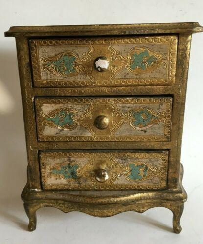 Vintage Florentine Jewelry Chest 3 Drawer