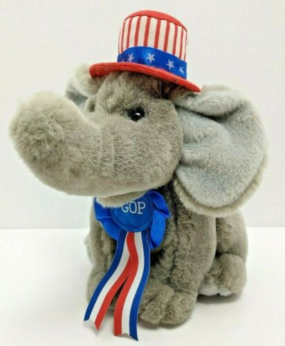 """Republican GOP Elephant USA  Red White Blue Patriot Plush 7"""" Collectible"""