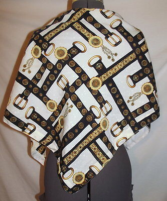 - White triangle wrap scarf gold black paisley belt chain pattern   58