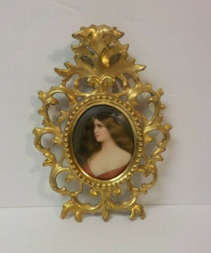 Miniature Portrait Painting on Porcelain, Italian Gilt Wood Frame, c. 1900