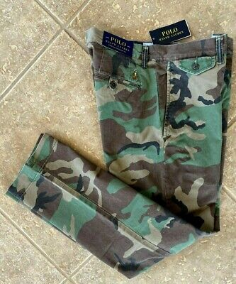 Polo Ralph Lauren Chino Pants 36 32 Green Camo Surplus Stretch Straight Fit NWT