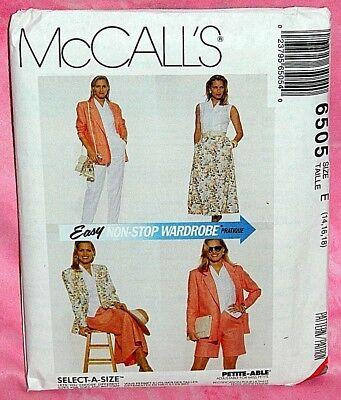 Uncut McCalls Sz 14-18 Easy Jacket Top A-Line Skirt Pants & Shorts Pattern 6505