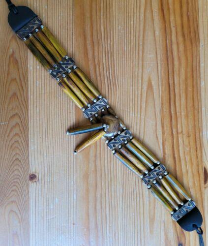 Buffalo Bone 4 Line Choker Beaded Tribal Native American Necklace Brown