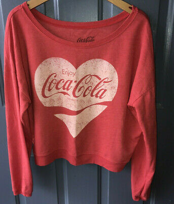 Heart Shirt COCA COLA Red Sweatshirt LARGE Womens Lt. Fleece Valentines Day