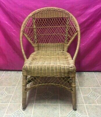 Vintage Natural MCM Bamboo Rattan Wicker Bentwood Armchair - -