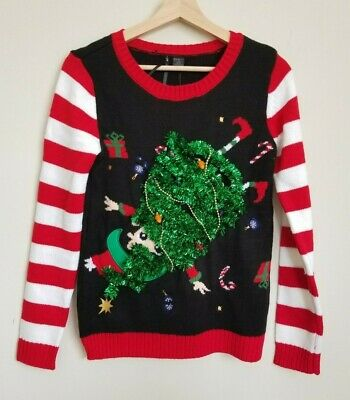 So It Is Christmas Tree Helper Upside Down Black Ugly Christmas Sweater S NEW ()
