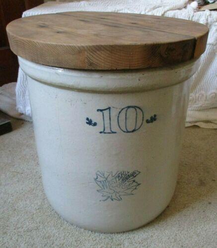 Vintage WESTERN STONEWARE MAPLE LEAF 10 Gallon Crock w/lid Monmouth Illinois