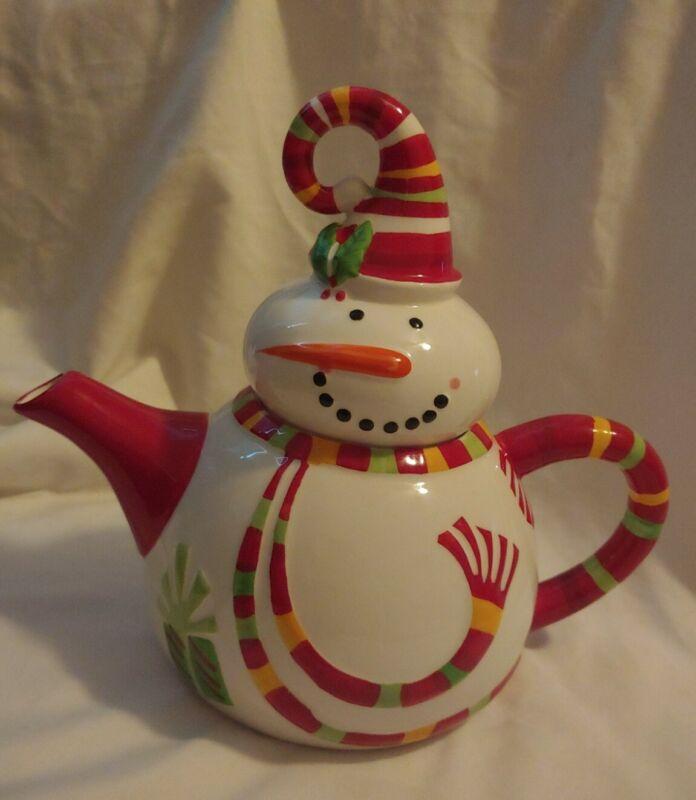 Pier 1 Imports Snowman Tea Pot Teapot Ceramic Christmas Teapot Jolly Holidays