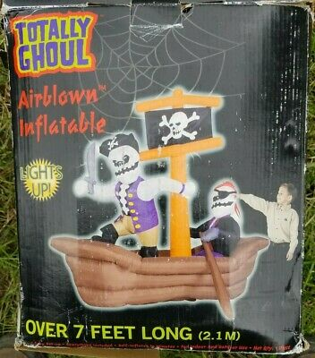 Blow Up Halloween Pirate Ship (RARE!!! Inflatable Airblown Pirate Ship Boat Skeleton Halloween Blow Up)