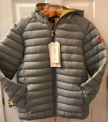NWT NEW Save The Duck Giga Ultralight Puffer Jacket Men's Hooded M Gray