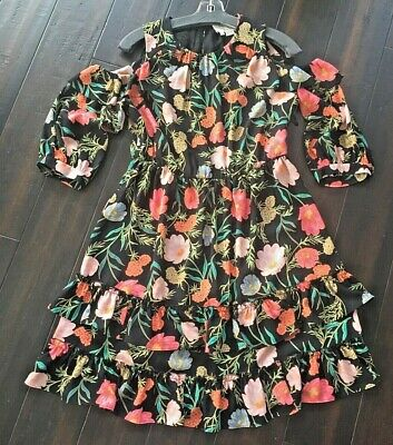 KATE SPADE New York Floral Cutout Shoulder/Ruffles Dress, Sz 4