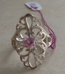 Vintage Sterling Silver Pretty Pink Ice Cut CZ  Ornate setting Ring Size 6 Nice