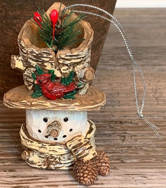 Resin Snowman Gold Pinecone Holiday Christmas Ornament Blue
