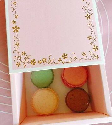 Cute Pink Bakery Box | Gold Floral Reef | for Macaron/Cookie Gift Party | 6 cts (Macaron Box)