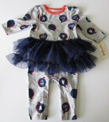 NWT-Cat & Jack Infant Girl's 1 Pc Tutu Outfit-Gray-Hello-NB,0/3,3/6,or 6/9 Month