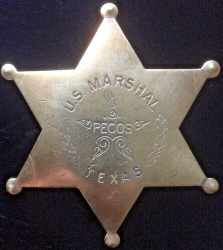 "Original ""U.S. MARSHAL, PECOS, TEXAS"" - Brass"
