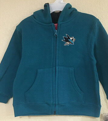 San Jose Sharks Toddler Full Zip Hoodie Teal Color - Reebook FACE OFF Collection ()